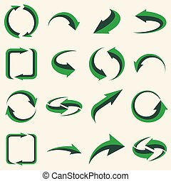 Arrows set - ecology icons collection
