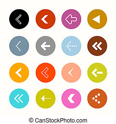 Arrows Set in Circles - Vector Illustration