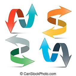 Arrows Set. Vector Double Arrows Isolated on White Background. 3D Logo Arrows Illustration.