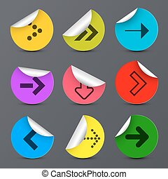 Arrows Set. Vector Paper Arrow in Colorful Circles.