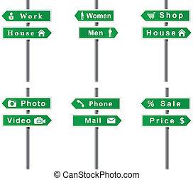 Arrows, signs, set. Vector format.
