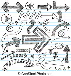 Hand Drawn Sketchy Arrow Doodles on Lined Notebook Paper Background- Back to School style Vector Illustration