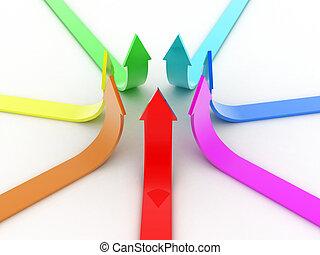 Arrows - Illustration of arrows directed upwards as success