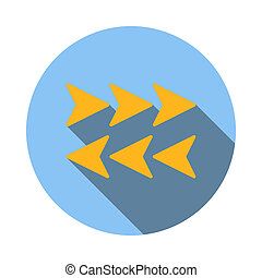 Arrows to left and right icon, flat style