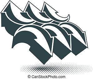 Arrows vector abstract symbol, conceptual special made single co
