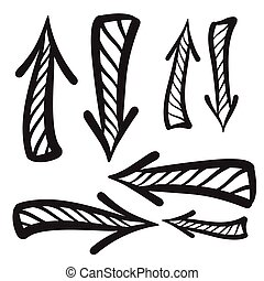 Arrows vector hand drawn set icons illustration