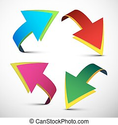 Arrows Vector Illustration. Colorful 3D Arrows Set Isolated on Light Background.