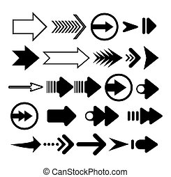 Arrows vector. Set different arrows isolated on white background