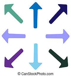 arrows., vetorial, jogo, de, arrows., isolado, branco, experiência.