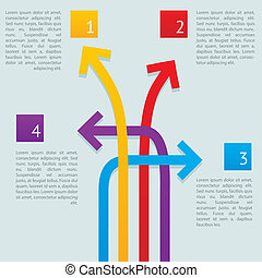 Infographic crossed arrows ways vector illustration
