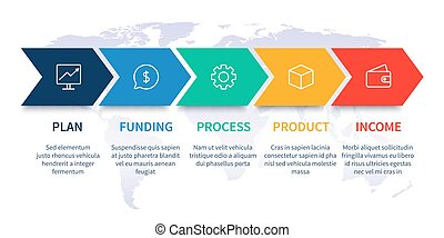 Arrows workflow steps. Global business process graph, step to success diagram and arrow timeline vector infographic chart illustration