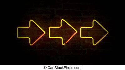 Arrows yellow neon light