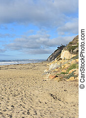 Arroyo Burro Beach on the coast of california with blue ...