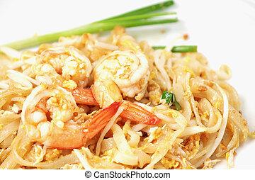 arroz, alimento,  (pad, almohadilla,  thai), Bata frito, tailandés, tallarines