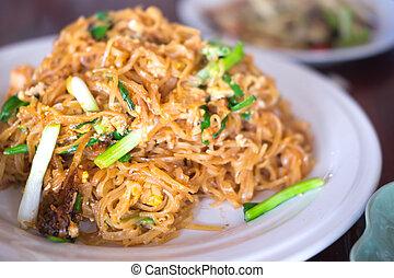 arroz, alimento, tallarines, tailandés, frito, conmoción