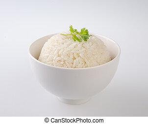 arroz branco, isolado, fundo