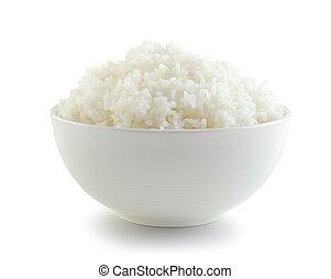arroz branco, tigela, fundo