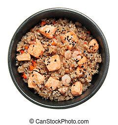 arroz, con, camarón, frito, salmón, y, vegetales, en, el,...