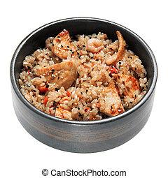 arroz, con, pollo frito, camarones, vegetales, y, sésamo, en...