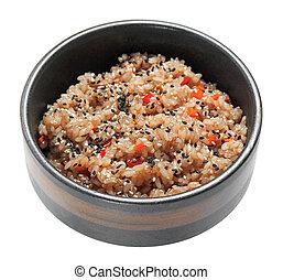 arroz, con, vegetales, y, sésamo, en el negro, bowl.,...