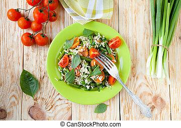 arroz cozinhado vapor, com, legumes, vista superior