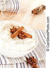 arroz, delicioso, pudding.