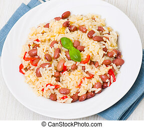 arroz, frijoles, rojo