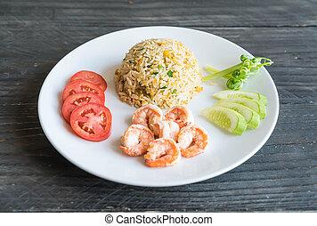 arroz, frito, camarones