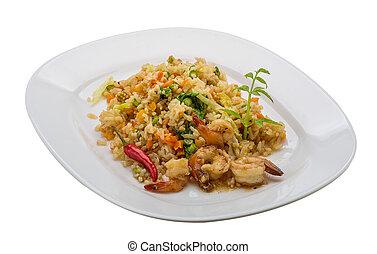 arroz frito, con, camarones