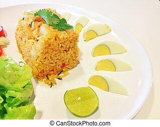 arroz frito, con, vegetales