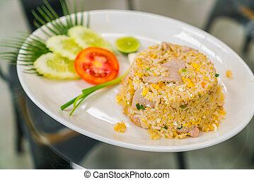 arroz frito, con, vegetales, .