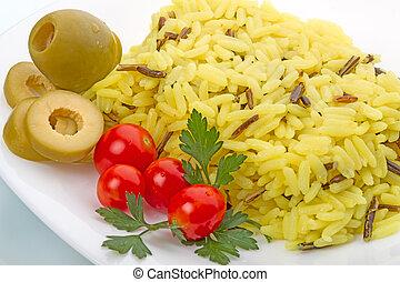 arroz hervido, con, vegetales