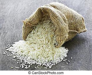 arroz largo del grano, en, saco de la arpillera