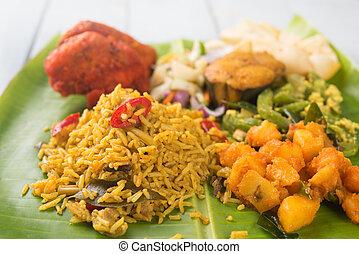 arroz, leaf., indio, plátano, biryani
