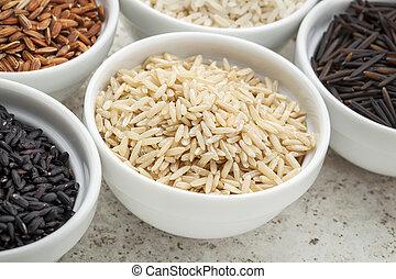 arroz marrom, grão, basmati