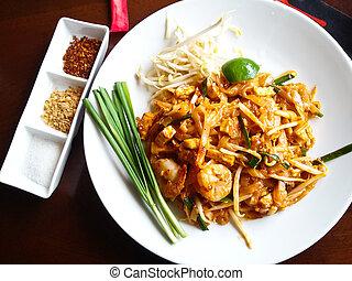 arroz,  (pad, alimento,  thai), Bata frito, tailandés, tallarines
