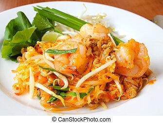 arroz, (pad, alimento, thai)., bata frito, tailandés, tallarines