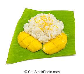 arroz, pegajoso, manga