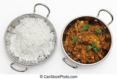 arroz, pollo, kadai, methi, tazones