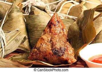 arroz steamed, bola de masa hervida