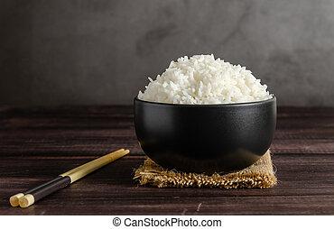 arroz, tigela, chopsticks