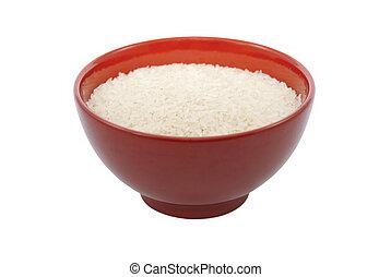 arroz, tigela, vermelho