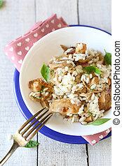 arroz, topo, fritado, cogumelos, vista