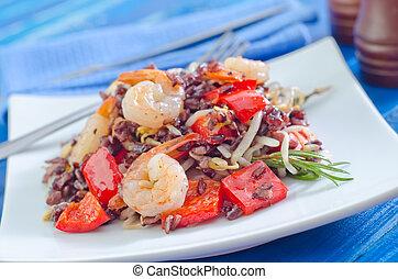 arroz, vegetales, frito, camarones