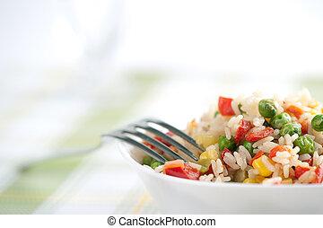 arroz, y, vegetales