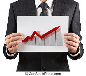arrrow., tient, graphique, listing, homme affaires, rouges