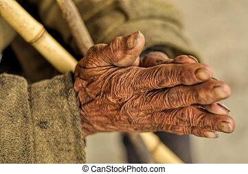 arrugado, 3º edad, manos