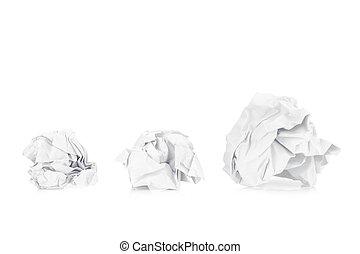 arrugado, aislado, espalda, papel, big., tres, pequeño, blanco, ball., suelo