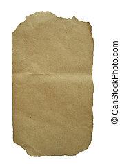 arrugado, blanco, papel, aislado, plano de fondo