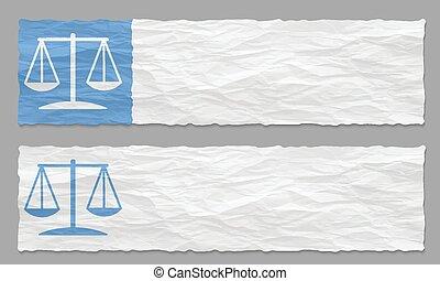 arrugado, conjunto, símbolo, dos, papel, banderas, ley